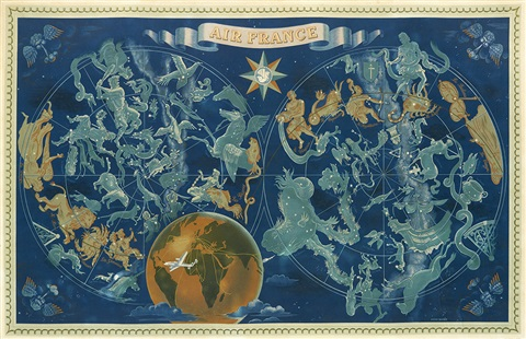 Air France Zodiac map by Lucien Boucher on artnet on story map, skagen map, cat map, moon map, earth map, everest map, scorpius map, complete astrology map, astrology chart map, ancient greek astronomy map, zombie map, fire map, monkey map, titanic map, capitals of the world map, astrological sign map, constellation map, world war z map, azimuth map, flags of the world map,
