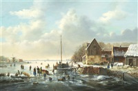 boat and figures on a frozen river by a. de groote