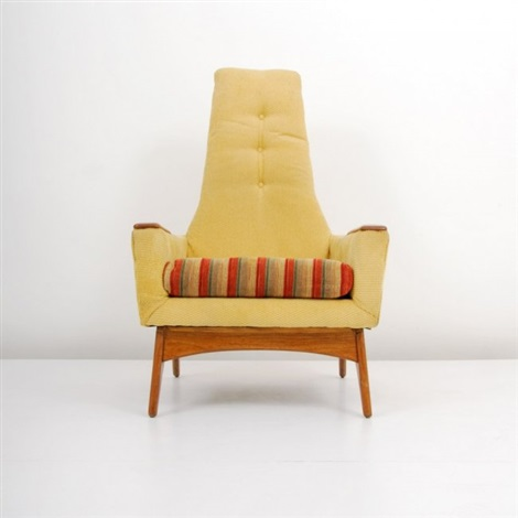 Genial Tall Back Lounge Chair With Wood Arm Rests By Adrian Pearsall
