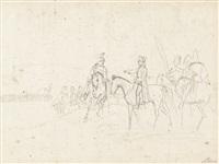 inspektion der kavallerie (sketch) by albrecht adam