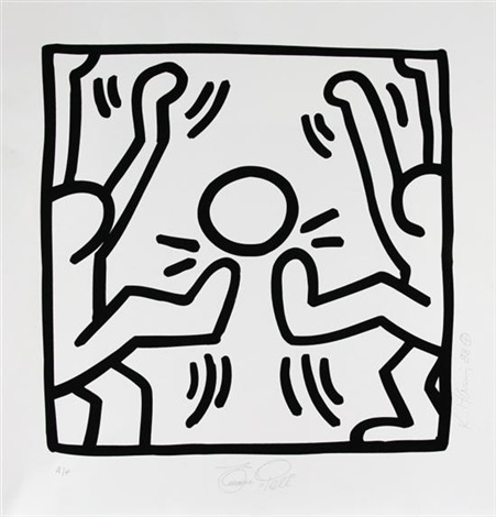 untitled (soccer pele come dois jugadores) by keith haring