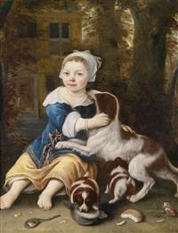 ein kleines mädchen mit einer hundefamilie vor einem landhaus by ludolf de jongh