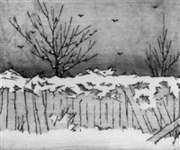 fence in winter by elizabeth colwell