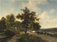 a panoramic river landscape with cattle near a bridge by eugène verboeckhoven and marinus adrianus koekkoek