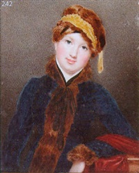 a lady wearing fur-trimmed blue zouave coat and matching fur cap by edward nash