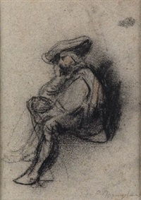 study of a seated courtier by camille joseph etienne roqueplan