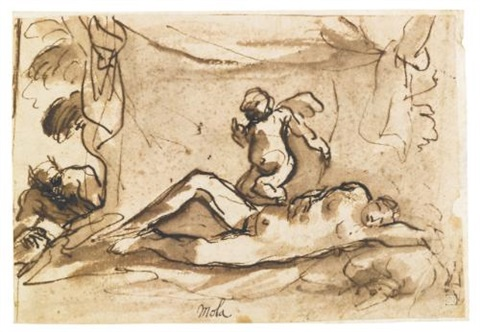 cupid protecting the sleeping venus from a spying satyr by pier francesco mola