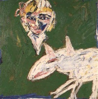 girl and bull terrier dog by davida allen
