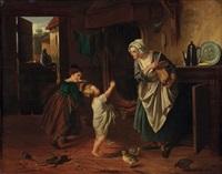 mutter gibt kindern brot zu essen - stubeninterieur by alexandre markelbach