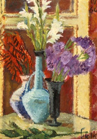 vases of flowers on the table by arie alweil