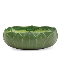 large low bowl carved with leaves by grueby