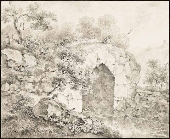 ein wache in rüstung und mit lanze beobachtet von einer anhöhe aus das weite land by balthasar anton dunker