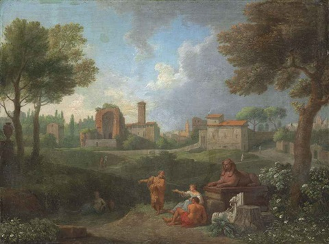an italianate landscape with figures conversing by a sphinx a town beyond by jan frans van bloemen