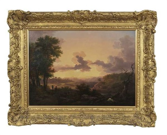 figure in an extensive landscape at sunset by caspar david friedrich