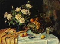 still life with flowers, glass and fruit on a table by carl h. fischer