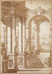 scenografia architettonica con scorcio di paesaggio by carlo antonio buffagnotti