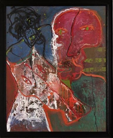 caballo y figura roja by alejandro santiago