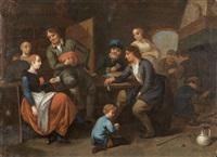 interior scene with figues conversing by bernardus van schendel