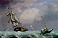 ships in a rough sea by fitz henry lane