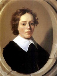portrait of a young boy, wearing a black coat and a white collar by jan daemen cool