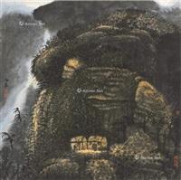 秋山飞泉图 镜片 水墨纸本 (landscape) by xiao haichun