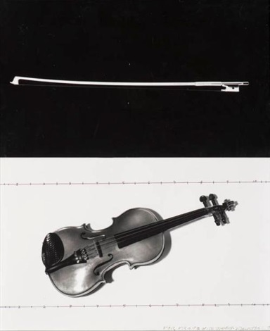 composition for violine and voices male diptych by john baldessari