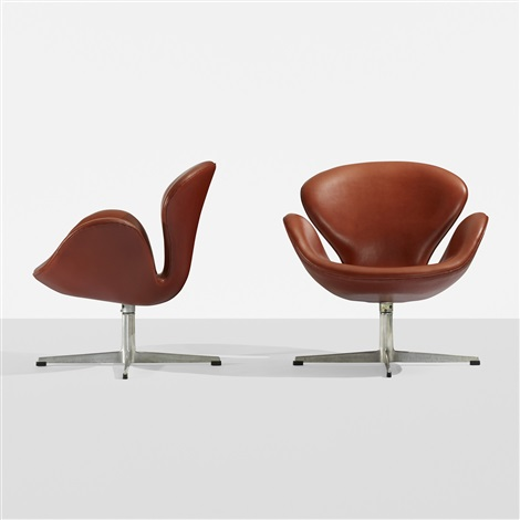 swan chairs pair by arne jacobsen