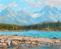the athabasca river, banff jasper highway, alberta by duncan mackinnon crockford