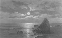 luminous coastal scene by william huston