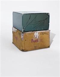 fedex medium kraft box (c) 2005 fedex 157872 rev 10/05 sscc, international priority, los angeles-brussels trk# 898775903583, january 6-9, 2012, international priority, oostende-new york, trk# 770729550804, august 1-5, 2014, (...), long island city-beverly  by walead beshty