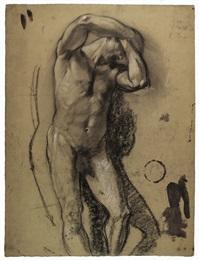 studio accademico per un nudo virile (recto-verso) by armando spadini