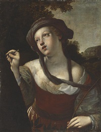 erminia carving the name of tancred on a tree, a scene from tasso by alessandro tiarini