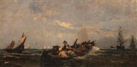 a rowing boat with sailing ships beyond by konstantinos bolanachi