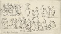 studienblatt mit marktszenen und vornehmen herren by paulus constantijn la (la fargue) fargue