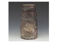 bizen lobed flower vase by yamamoto toshu