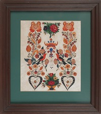 vibrant schwenkfelder fraktur drawing, inscribed j.k. 1842, with a crown in the center flanked by bold stylized floral vines, birds, a flower pot, and hearts, by jonas kriebel