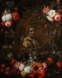 büste des heiligen jakobus im blütenkranz by nicolaes van veerendael
