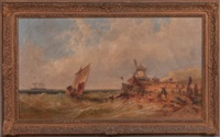 Coastal View with Fisherfolk, Windmill, and..., 1867