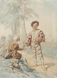 der verabschiedete soldat gibt dem als bettler verkleideten petrus ein almosen (+ 3 others; 4 illus. for bruder lustig) by ernst hildebrand