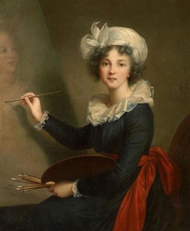 autoportrait à la palette peignant la reine marie antoinette by elisabeth louise vigée le brun
