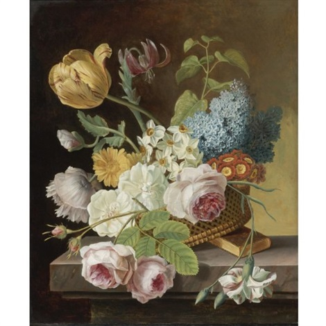 flower still life with roses tulips narcissi and other flowers in a basket on a ledge by jan frans van dael