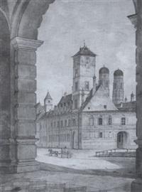 straßenansicht der maxburg in münchen mit den türmen der frauenkirche by max hauschild