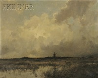 view of a windmill on the horizon by dorus arts