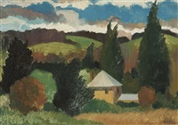 landscape with yellow house, berrima by alison baily rehfisch