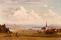 bayrische seelandschaft mit dorf und feldarbeiter by hans sengthaler