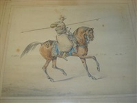ottoman rider holding a lance (+ another; 2 works) by samuel henry alken