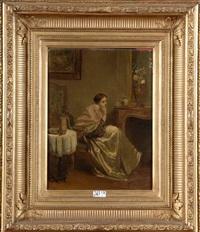 femme pensive dans un intérieur by adolphe stache