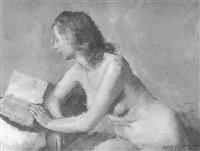 seated nude reading by henry marvell carr