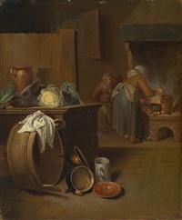 ein paar bäuerliches interieur mit frauen bei der küchenarbeit by justus juncker