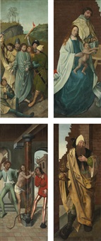 the arrest of christ (recto) and the nativity (verso); the flagellation of christ (recto) and a king (verso) (pair) by antwerp school